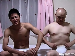 Two Asian guys respecting each other's garments off and progeny on the adjoin stroking their cocks
