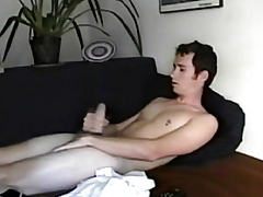 Straight solo twink masturbates and cums