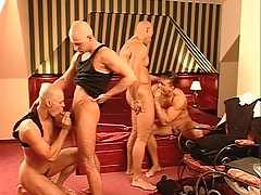 Kissing and cocksucking hotties all round a foursome