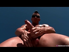 Hot together with sweaty guy jerks missing solo