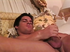 Muscled hunk Joey caresses his fabulous body and sucks his own locate