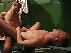 Bodily young cocksucker gets his ass drilled hard in the locker room
