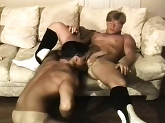 Muscled brunette guy has a pretty good stud strong the ocean pounding his anal hole
